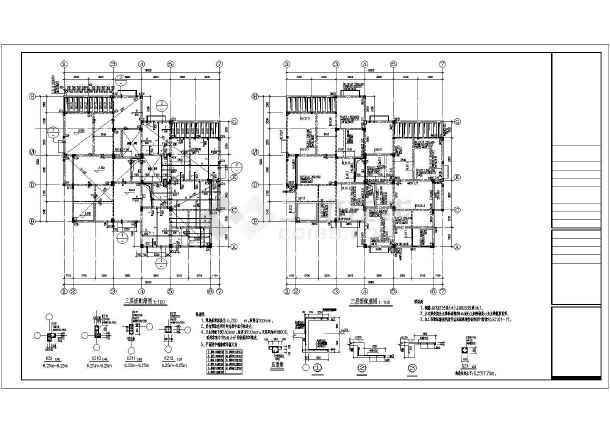 某三层框架坡屋顶别墅结构设计施工图图片3