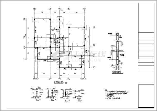 某三层框架坡屋顶别墅结构设计施工图图片