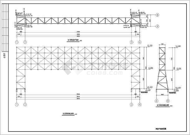 图纸 建筑结构图 网架结构图纸 网架穹顶 某36米电子屏广告牌网架结构