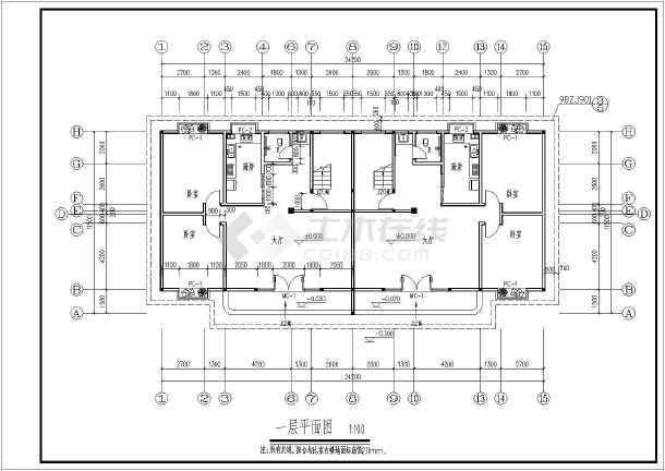 某农村二层连拼住宅楼建筑设计施工图_cad图纸下载