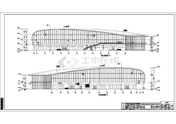河南省焦作市某结构框架游泳馆建筑设计竣工图二维螺旋线cad图片