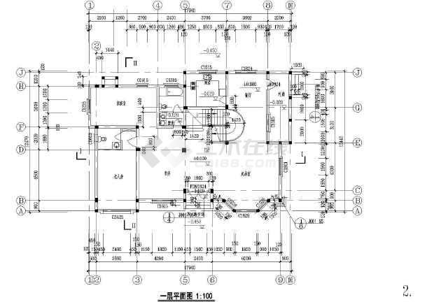 某二层湖边别墅建筑设计图(长17.94米 宽12.47米)