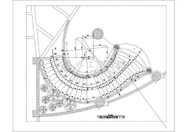 弧形钢结构楼梯装饰设计施工图(共13张)图片1
