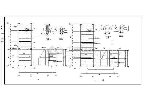 某建筑钢结构走廊楼梯cad施工设计图