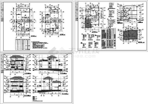 别墅区(沿街公寓,10套别墅)建筑施工图_cad图纸下载