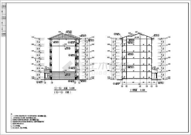 某地框架异形柱框架结构单元住宅建筑施工图-图1