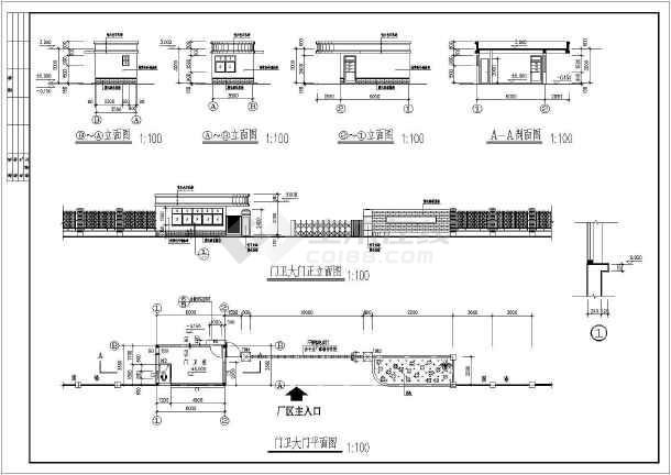 某地区结构门卫小区砖混图纸建筑结构设计施工晶圆notch大门图片
