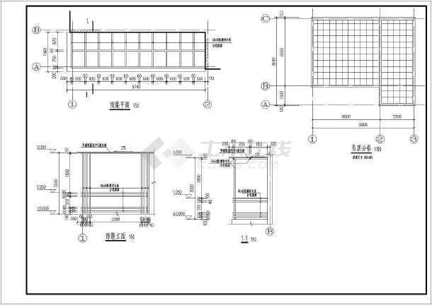 为某农村单层砖混结构书屋建筑及结构设计施工图,屋顶采用钢木屋架