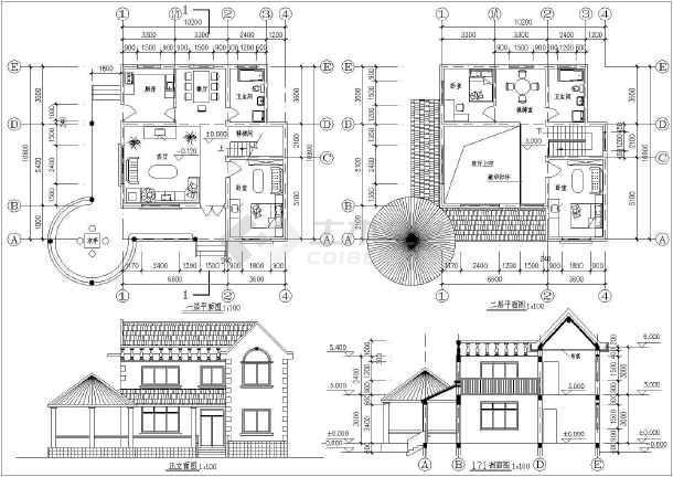 4套二层小型别墅建筑方案设计图纸