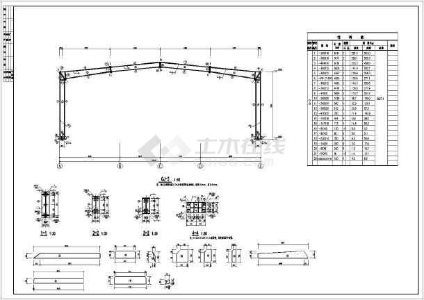 某地单层单跨钢结构厂房结构施工图(cad图纸下载)