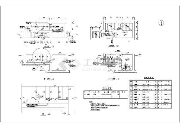 某图纸处理厂污水巴氏指导槽施工图_cad工程实用CAD计量训实图片