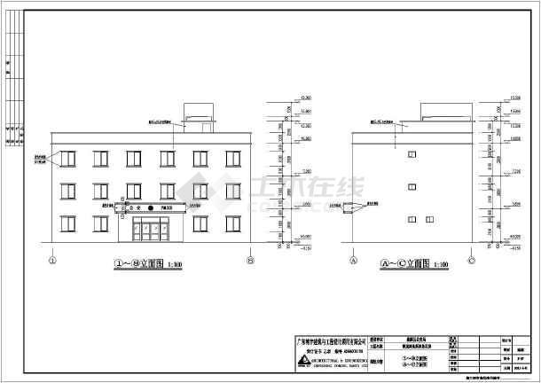 广东省某派出所三层办公楼建筑设计施工图_ccad放大图纸尺寸不改变图片