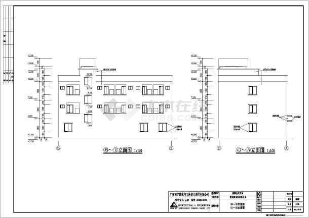 广东省某派出所三层办公楼建筑设计施工图_c半甲图纸纹身铠甲