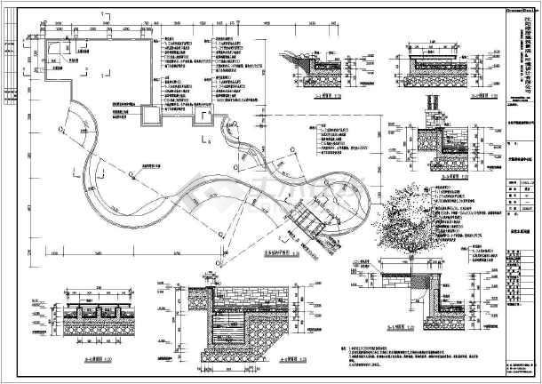 某小区四角防腐木景观亭及连体廊架施工图