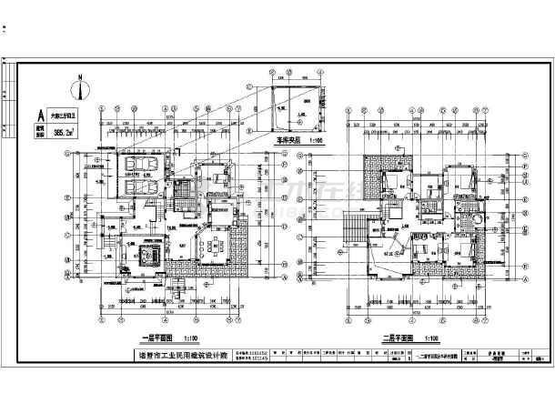 某地区二层结构框架别墅客厅装修施工图联排别墅全套建筑图图片