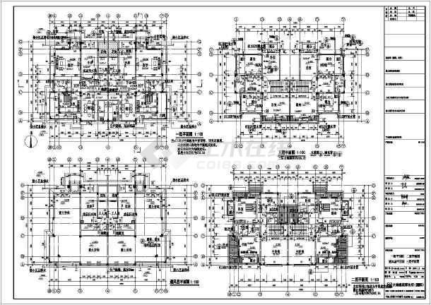 某地三层砖混结构双拼别墅建筑结构设计施工图纸