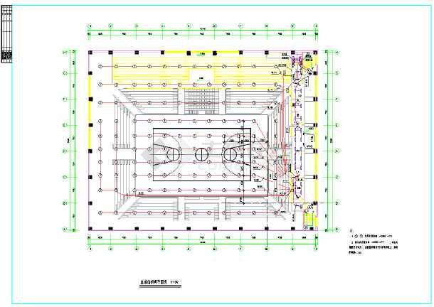 某地区篮球馆体育照明平面图(含注释)