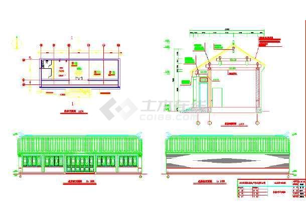 某地四合院北房建筑设计平立面图纸图片1
