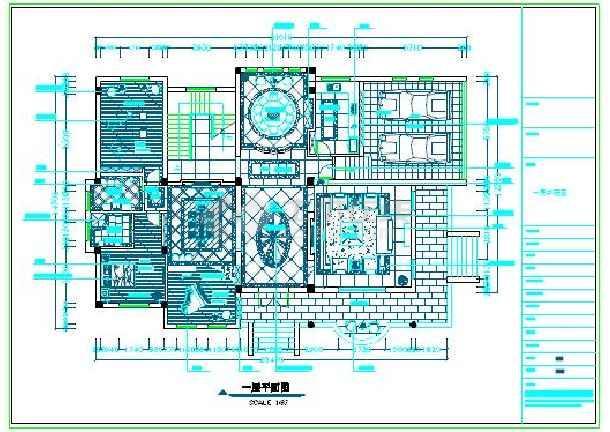 某地下一层地上两层欧式别墅全套风格装修cad施工图电梯别墅升降台山东图片