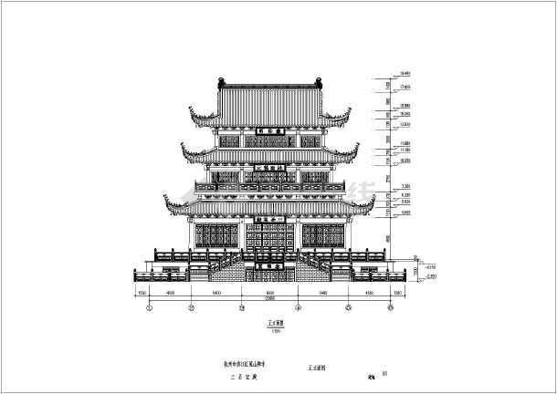 杭州五层木结构仿古佛殿建筑设计方案图