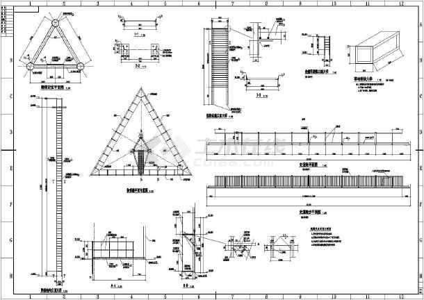钢结构三角广告牌结构设计施工图纸
