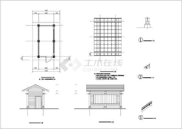 栈台平台设计图 某防腐木景观栈台及小商亭的施工图