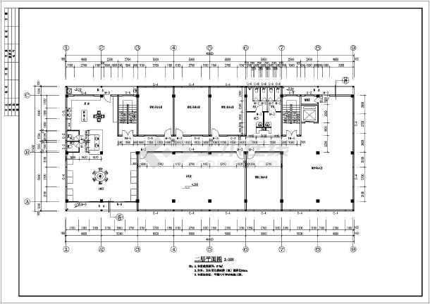 某公司5层混凝土框架结构办公楼建筑施工图