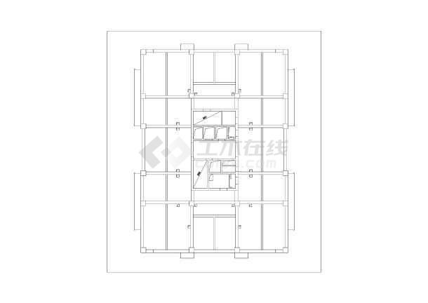 19层高层框架核心筒结构,地下一层,图纸包含结构设计说明,基础平面图