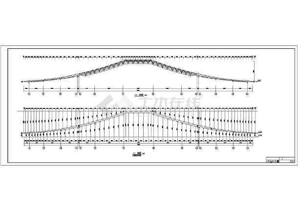 图纸 建筑结构图 网架结构图纸 网架穹顶 某工程双坡曲线网架全套结构