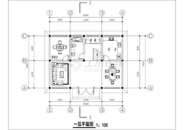 某地区两层小型别墅建筑设计施工图图片