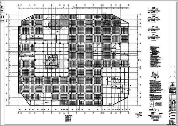 100米高9万平米高层框架核心筒结构商业群楼结构施工图