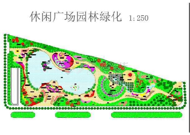 某小型休闲广场园林绿化建筑总平图