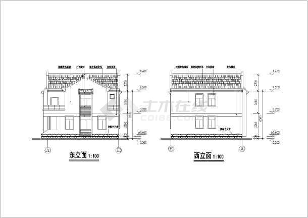 某单家独院式别墅设计图(共5张)