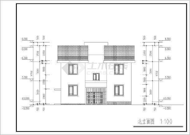 江苏徽派朴素二层农村房屋建筑设计图