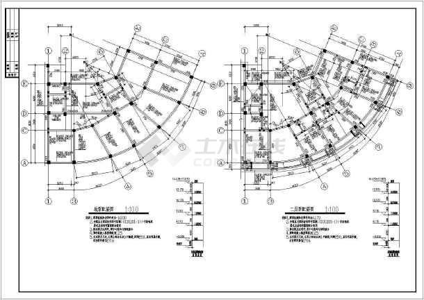 某五层弧形坡屋面框架结构设计施工图