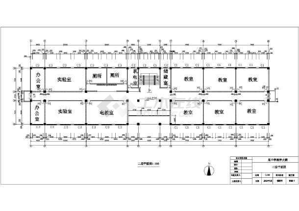 某地四层图纸框架结构教学楼建筑方案设计中学管沟cad图图片