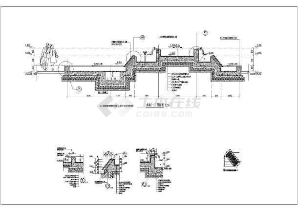 喷泉水池平面,立面及剖图详细施工图