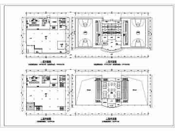 某小学二层餐厅和二层风雨操场建筑设计平面图