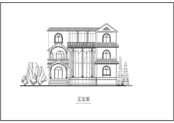 某地两层欧式别墅住房建筑设计方案图纸(12套)