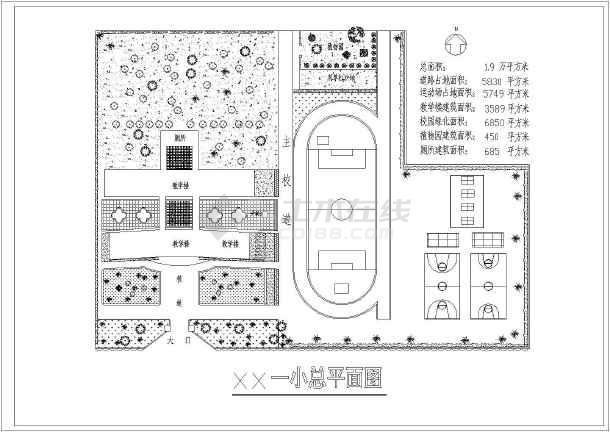 某地区某小学建筑规划总图(含建筑面积)-图1
