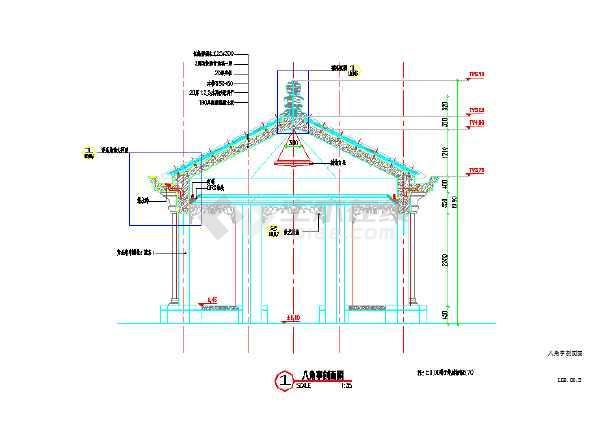 【设计施工图】八角景观亭子设计施工图_cad图纸下载图片