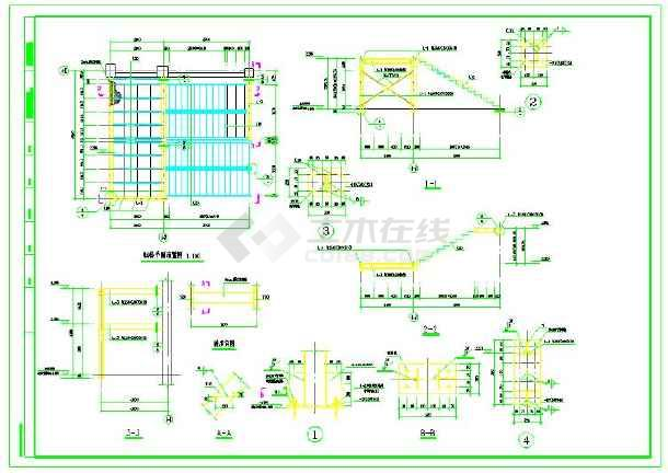 钢结构螺旋楼梯及直跑楼梯节点详图 共7张图