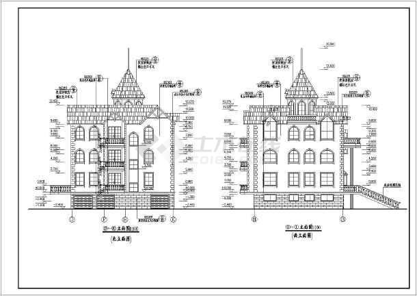 欧式风格赛架空层三层豪华别墅建筑设计图