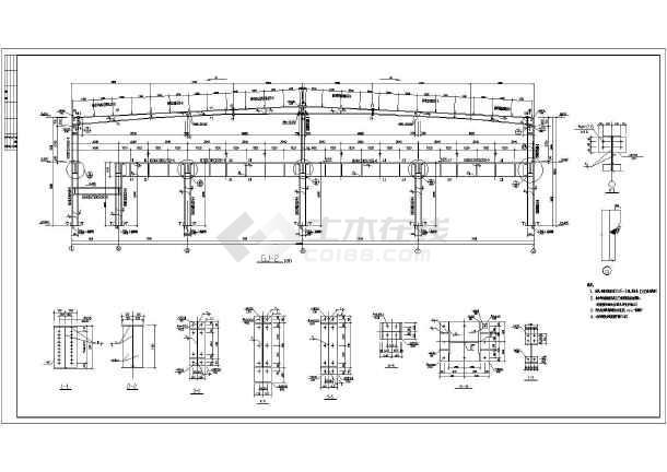 某地二层钢结构带坡道厂房结构设计施工图