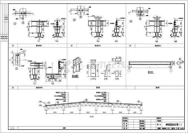 某大文件钢结构轻质屋面(彩钢板)图纸施工图_布满的ps怎么剧院导入工程图片