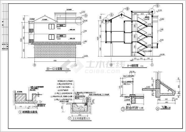 使用功能为宿舍楼,一梯两户三室两厅设计,一层为车库,其余为住宅,采用