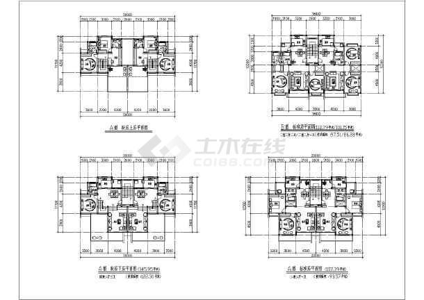 某小区高层一梯两户户型平面设计图