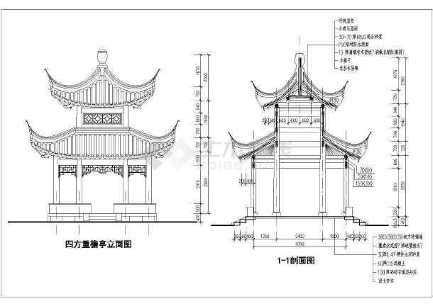 某地古建四角重檐亭子设计施工图纸-图4