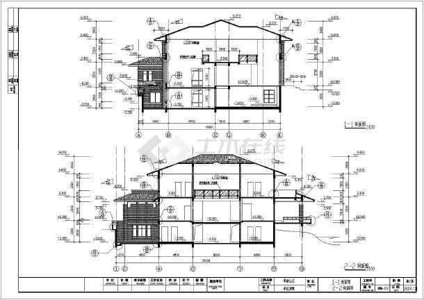 本图纸为一个框架结构别墅,一个砖混结构民房.