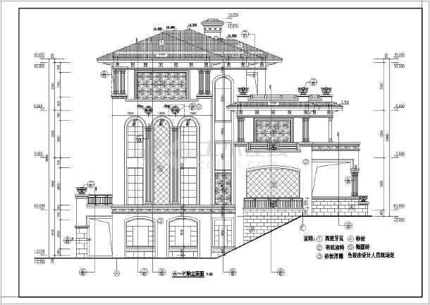 某地区3层框架结构别墅建筑施工图